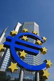 Euro sign with European Central Bank — Stock Photo