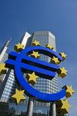 Euro sign with European Central Bank — Stock Photo