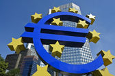 Euro symbol in front of the ECB building — Stock Photo