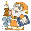 Royalty-Free Stock Vector Image: Good gnome with a book and candle.