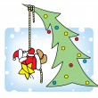 Santa decorates a Christmas tree. - Stock Vector