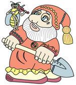 Good gnome with a shovel. — Stock Vector