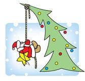 Santa decorates a Christmas tree. — Stock Vector