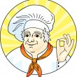 Royalty-Free Stock Vector Image: Chef giving the okay sign.