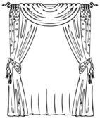 Curtain on a Window. — Stock Vector
