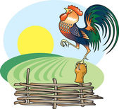 Singing Rooster and morning Sun. — Stock Vector