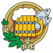 Royalty-Free Stock Vector Image: Beer with hops, a barrel and fish.