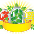 Canned fruits and vegetables in glass jars. - Stock Vector