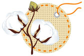 Cotton branch with label (Gossypium). — Stock Vector