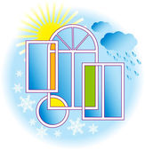 Windows と天気. — ストックベクタ