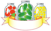 Canned fruits and vegetables in glass jars. — Stock Vector