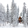 Christmas cottage in winter wonderland - Stock Photo