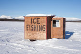 Ice fishing hut — Stock Photo