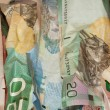 Crinkled Canadian dollar bills closeup — Stock Photo