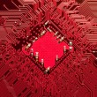 Closeup of computer circuit board in red — Stock Photo #3423780