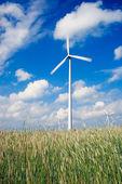 Parque eólico em terras agrícolas — Foto Stock