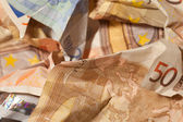 Crinkled euro bills closeup — Stock Photo