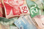 Crinkled Canadian dollar bills closeup — Stock Photo