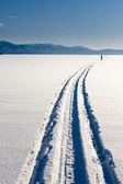 Skiing person on frozen lake — Stock Photo