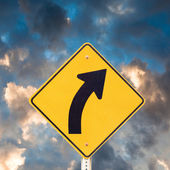 Road sign right curve — Stock Photo
