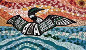 Common loon, tile mosaic — Stock Photo