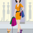 Sexy Girl with dog - Imagen vectorial