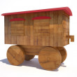 Stock Photo: Old wooden train toy