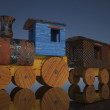 Stock Photo: Old toy train on mirror background