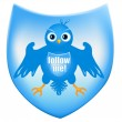 Twitter heraldic shield - Stock Vector
