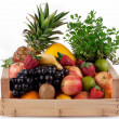 Fruit in wooden box. — Stock Photo