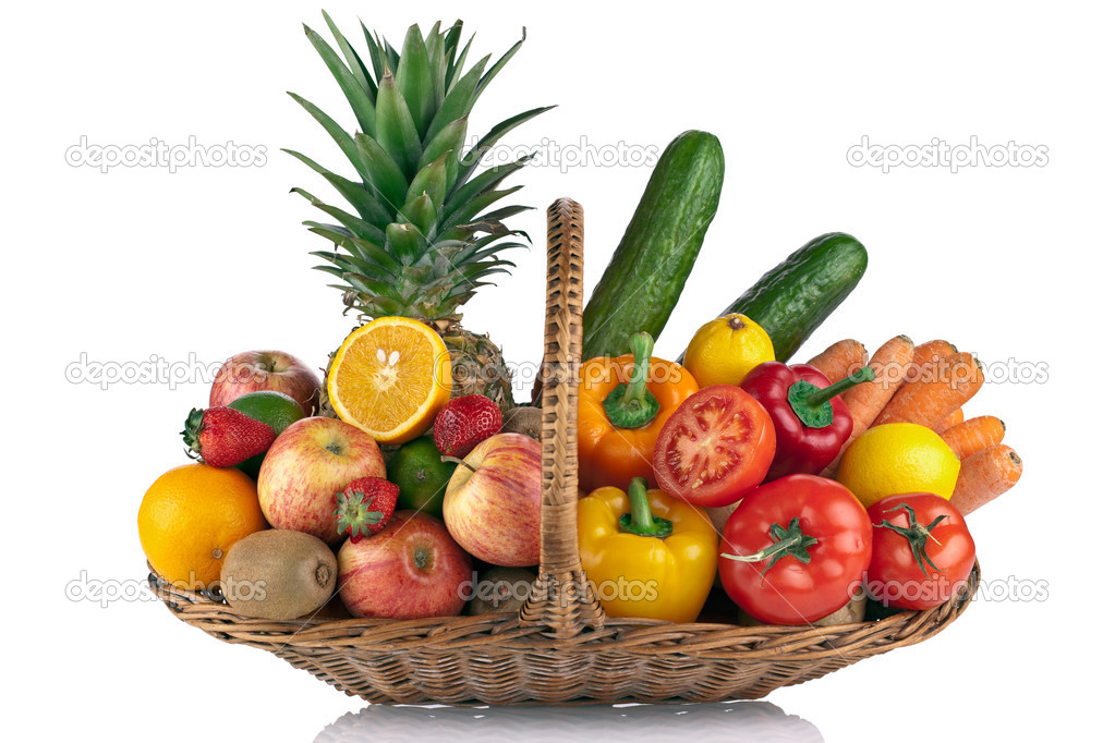 Colorful fruit and vegetables  composition on the Basket isolated on white — Stock Photo #2929379