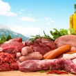Assorted raw meats - Stock Photo