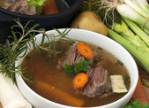 Bowl Soup with beef and ingredient — Stock Photo