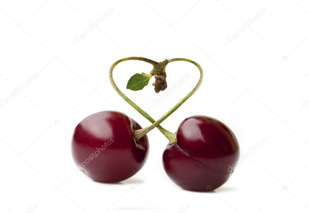 Cherry duo in Love with stem and Leaf isolated on white — Stock Photo #3545317