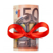 Rolled up fifty euro — Stock Photo