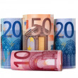Rolled up hundred euro — Stock Photo