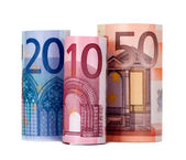 Rolled up eighty euro — Stock Photo