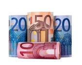 Enrollada cientos euros — Foto de Stock