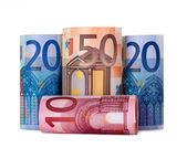 Rolled up hundred euro — Stock fotografie