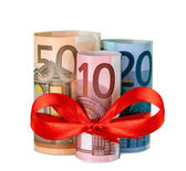 80 euro with red ribbon — Stock Photo