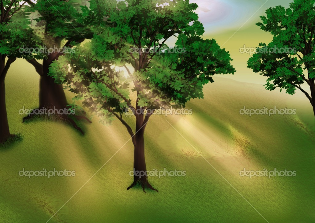 Grove and Sunbeams - background illustration — Stock Photo #2869394