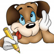 Brown Dog Writing — Imagen vectorial