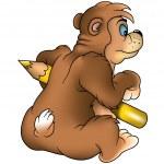 бурый медведь художник — Cтоковый вектор