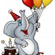 Elephant and Happy Birthday — Stock Vector