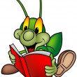 Happy Green Bug Reader — Stok Vektör