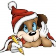 Santa Claus Dog — Image vectorielle