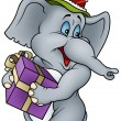 Elephant and Gift - Stock vektor