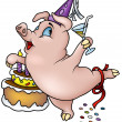 Stock Vector: Piglet and Birthday