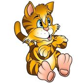 Turuncu oturan kedi — Stok Vektör