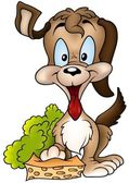 Dog and Sponge — Stock Vector